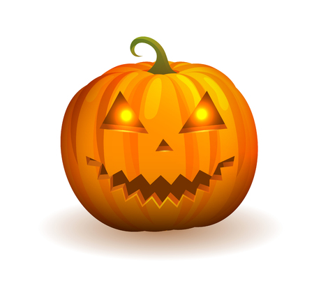 Pumpkin with Mischievous Face and Flame in Eyes.