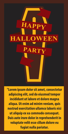 Coffin with happy halloween party inscripton in a red ribbon Illustration