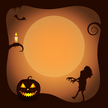 Halloween Poster with Zombie Silhouette.