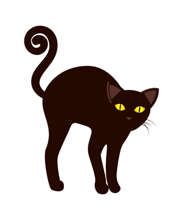 Black Cat with Long Tail Symbol Halloween Vector.