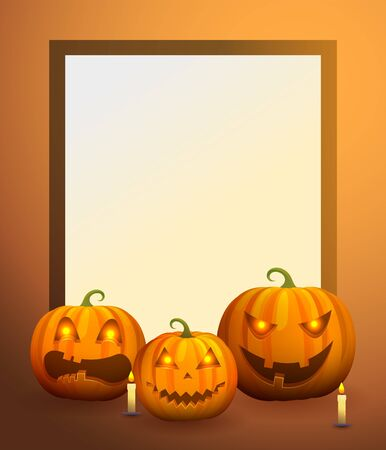 Photo Frame with Pumpkin Lanterns and Candles Stock Photo