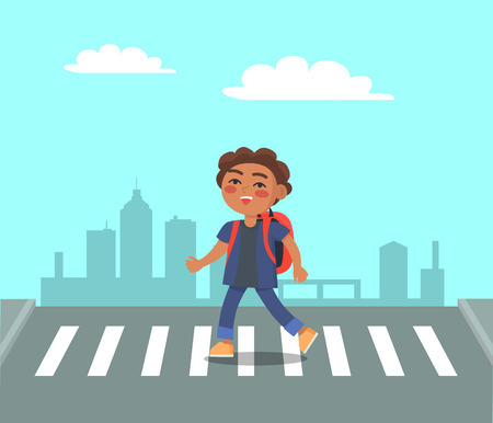 Smiling boy at crosswalk on urban city background. Schoolboy with backpack on pedestrian hurry to school. Right way to pass the street