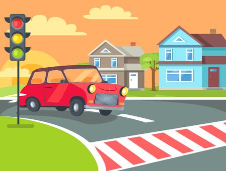 横断歩道ベクトルの前に田舎の田舎とレトロな車の道路に信号を付けた横断歩道。夕焼けを背景にしたホームビル  イラスト・ベクター素材