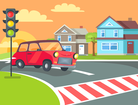 Pedestrian crossing with traffic lights sign on road at rural countryside and retro car before crosswalk vector. Home buildings on background of sunset
