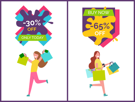 -30 off only today and buy now -65 placards that represent woman with raised hands and bags and other lady happy customer vector illustration Illusztráció