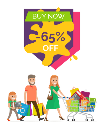 Buy now -65 off, promo poster representing headline above and image of people with cart and bags below vector illustration isolated on white