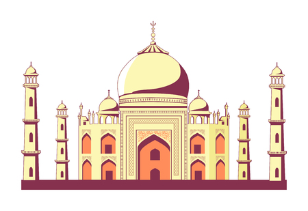 Famous Indian building of Taj Mahal with rounded roofs, tall towers and pattern on walls isolated vector illustration on white background.