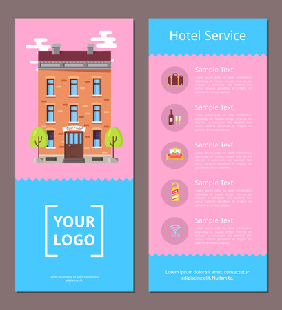 Hotel service booklet template with information and old vintage, bottle of wine, soft bed, door tag and wireless internet icon vector illustrations. Ilustração