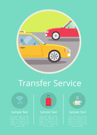 Transfer service information on hotel Internet page with cars on road isolated vector illustration inside circle and text underneath.