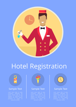 Hotel registration Internet page with receptionist in red uniform that stands and holds room key inside circle vector illustration.
