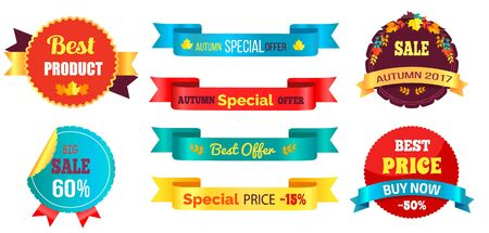 Best price buy now special autumn offer with percent discount on ribbons with different colors and percentages vector illustrations round stamps set