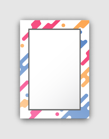 Photo frame with paint splashes border and abstract geometric figures vector illustration isolated on white background. Empty creative pattern