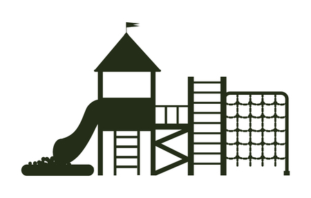 Big playground for kids with different ladders, kind of balcony with crown, tube and inflatable pool with little balls black silhouette vector illustration