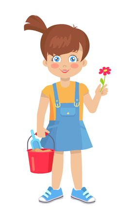 Brunette doll like girl with red flower and bucket with shovel vector illustration isolated on white. Cute cartoon female child holds toys