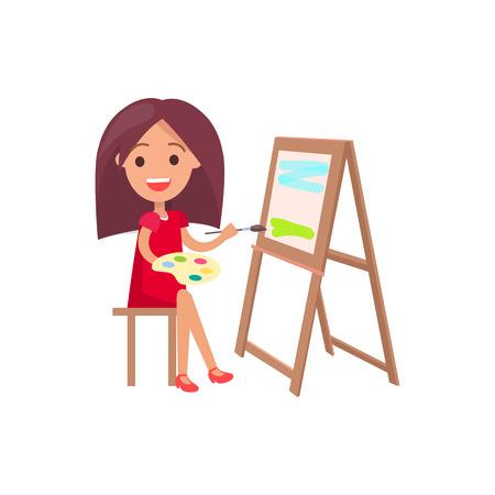 젤에 의해 지원하는 그림에 근무하는 자에 앉아 빨간 드레스에 두꺼운 갈색 머리 소녀 젤 격리 된 벡터 일러스트 레이 션에 흰색