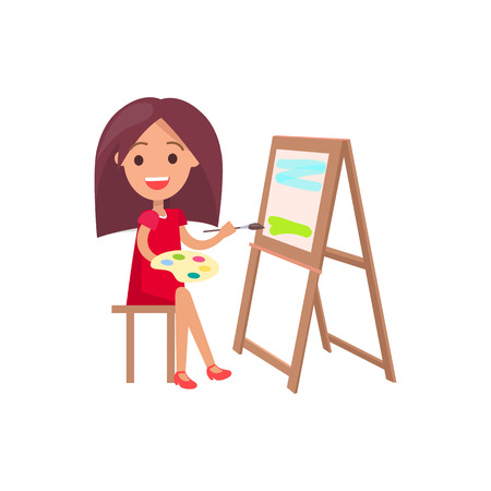 Girl with thick brown hair in red dress sitting on stool working on painting supported by easel isolated vector illustration on white