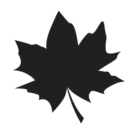 Maple leaf black silhouette autumn fallen object vector illustration in realistic design isolated on white. Fall foliage element, dark leafage vector Illustration