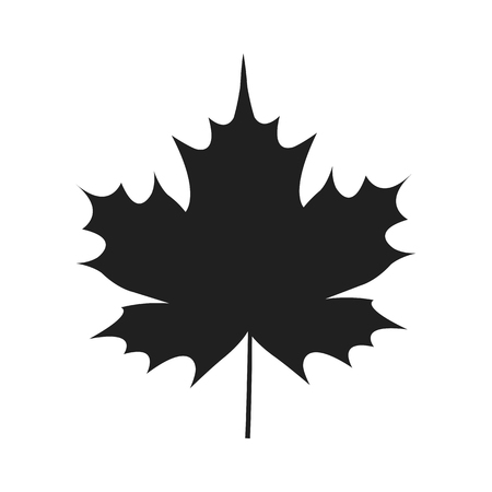 Autumn Leaf Black Silhouette Icon Isolated White