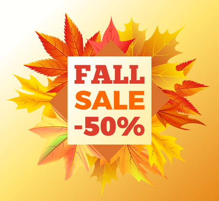 Fall sale -50 off sign surrounded frame of golden yellow foliage bouquet. Vector illustration with orange leaves, discounts half price at autumn season