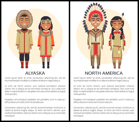 Alaska and North America people wearing warm clothes, hood and coats with fur, decorated by feathers, couple standing and smiling on vector with text Illustration