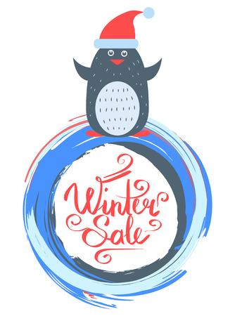 Winter Sale Poster with Penguin Wearing Santa Hat Illustration