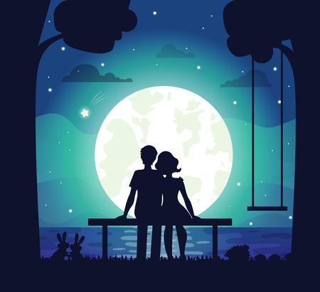 Coppie romantiche che si siedono sulla spiaggia sotto il chiaro di luna circondato da bella famiglia di capelli e riccio. Illustrazione vettoriale con uomo e donna innamorata Vettoriali