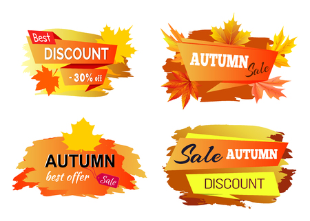 Best Autumn Discount Offer Vector Illustration Reklamní fotografie - 90839075