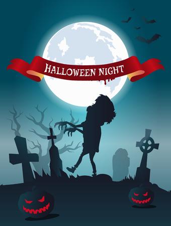 Halloween Night Scary Banner Vector Illustration