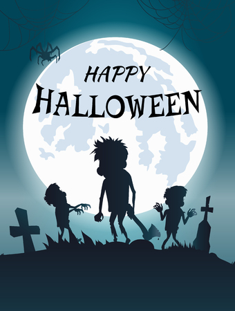 Happy Halloween Scary Banner Vector Illustration