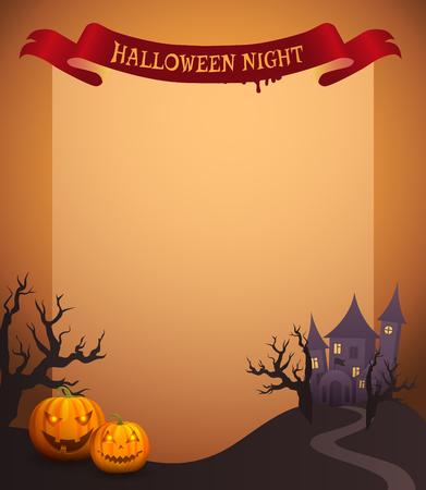 Halloween Night in Ribbon Vector Illustration Illustration