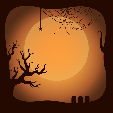 Postcard on Halloween Template Vector Illustration