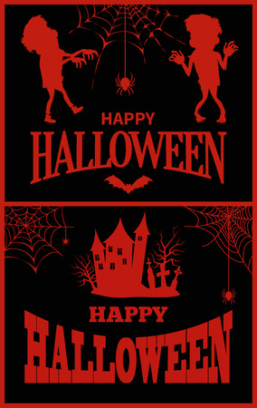 Happy Halloween Posters Vector Illustration Иллюстрация