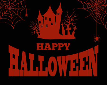 Happy Halloween Bloody Silhouette of Creepy House Illusztráció