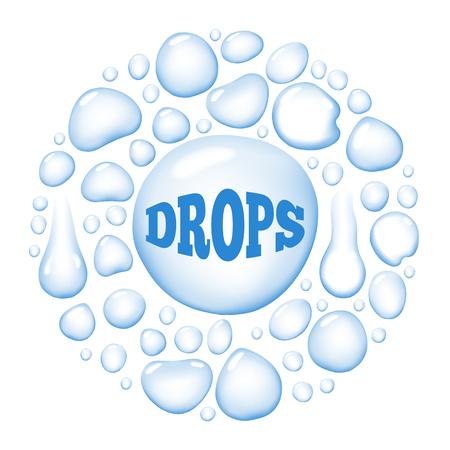濡れた水滴ベクトル図  イラスト・ベクター素材