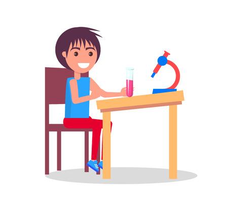Kind, das Labor auf Chemie-Mikroskop tut Standard-Bild - 90839206