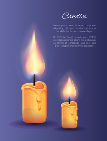 Two Burning Candles Small and Big with Lit Flame