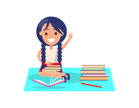 Girl with Piles of Books Isolated Illustration Illustration