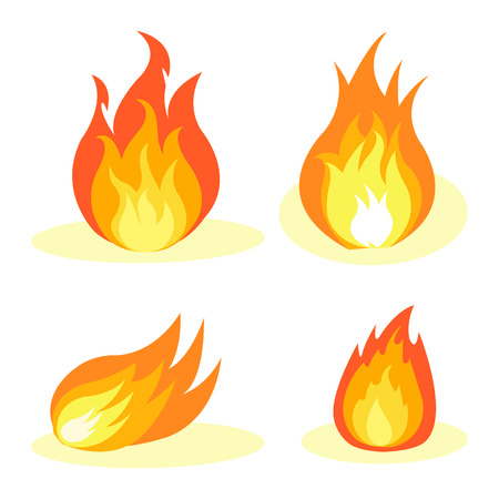 Burning Fire Collection Isolated on White Poster
