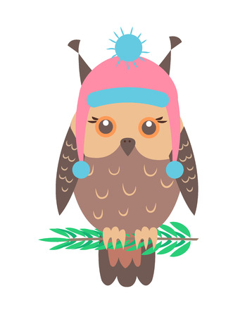 Closeup of Funny Owl with Hat Vector Illustration