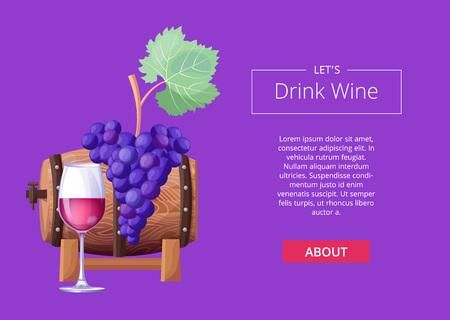 Let s Drink Wine Web Page Vector Illustration