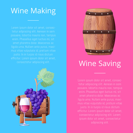 Wine Making and Saving Manual Vector Illustration