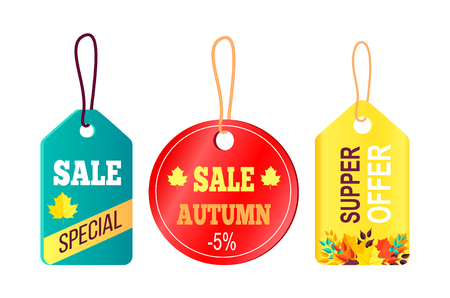 Sales Promotion in Fall Concept, Tags Hanging Text Illustration