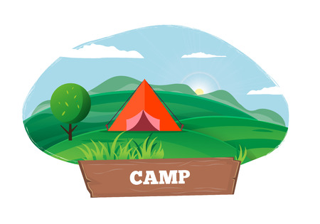 Time for Camping Poster with Tent Outdoors