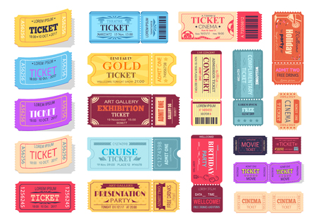Collection of Colorful Tickets Vector Illustration