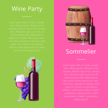 Wine Party and Sommelier Vector Illustration Icons
