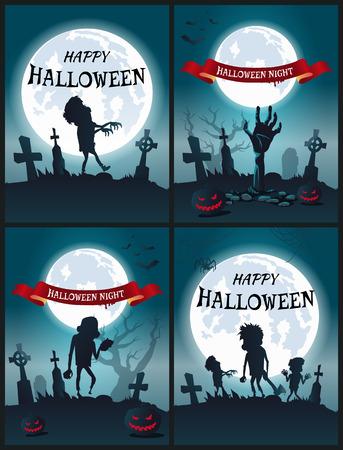해피 할로윈 밤 무서운 포스터 세트