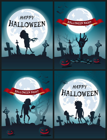 Happy Halloween Night Set van enge posters Stock Illustratie