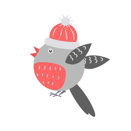 Closeup of Bullfinch with Hat Vector Illustration