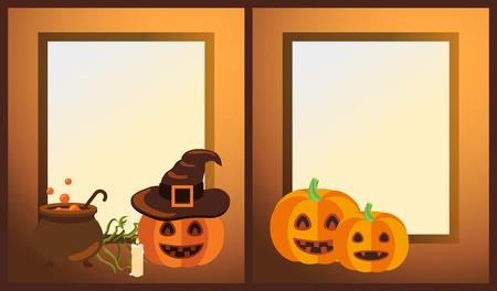 Lege Halloween-fotoframes met rijpe pompoenen