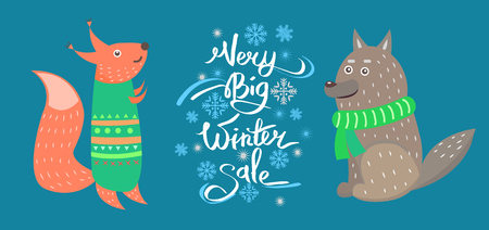 Very Big Winter Sale Vector Icons Squirrel Wolf Çizim